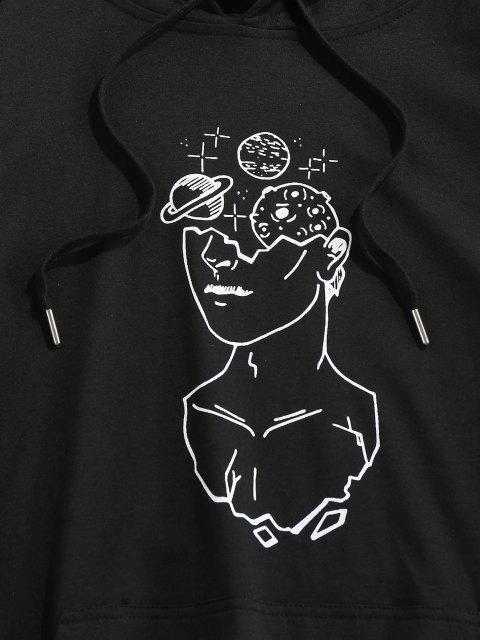 women's Planet Sketch Print Kangaroo Pocket Drawstring Hoodie - BLACK 2XL Mobile