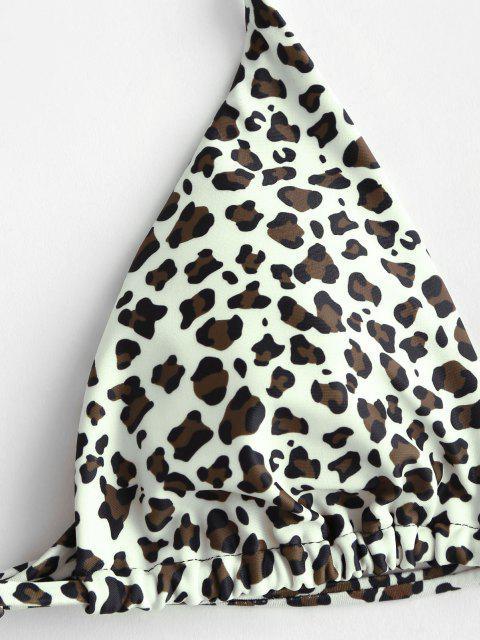 sale ZAFUL Striped Leopard High Leg Three Piece Bikini Swimwear - LIGHT COFFEE L Mobile
