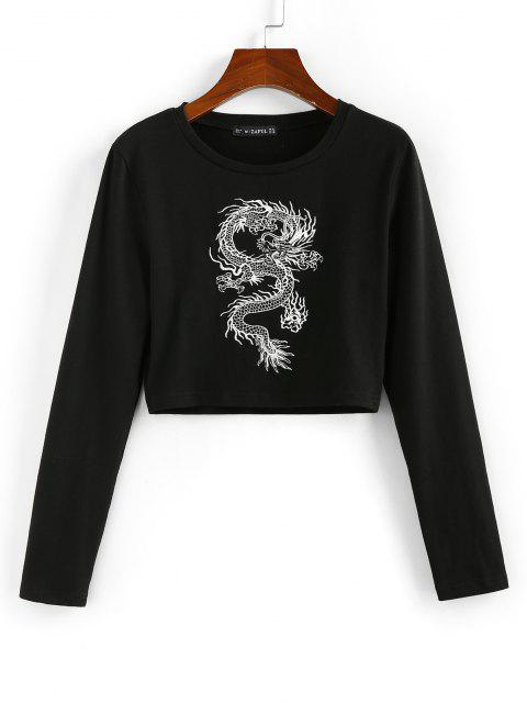 T-Shirt Corta Orientale con Stampa Drago di ZAFUL - Nero S Mobile