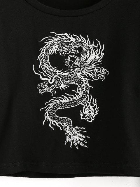 ZAFUL Orientalische Druck Crop T-Shirt - Schwarz XL Mobile