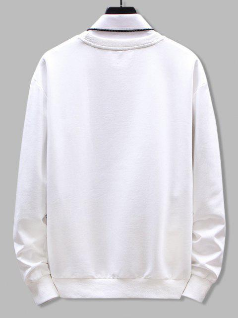 unique Crew Neck Letter Graphic Print Sweatshirt - WHITE L Mobile
