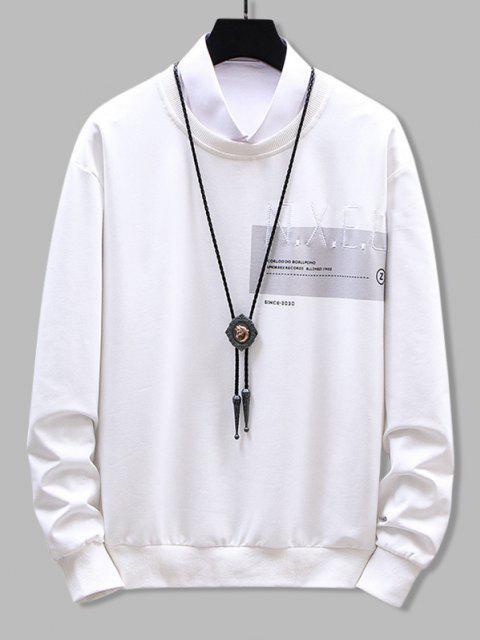 ladies Crew Neck Letter Graphic Print Sweatshirt - WHITE M Mobile