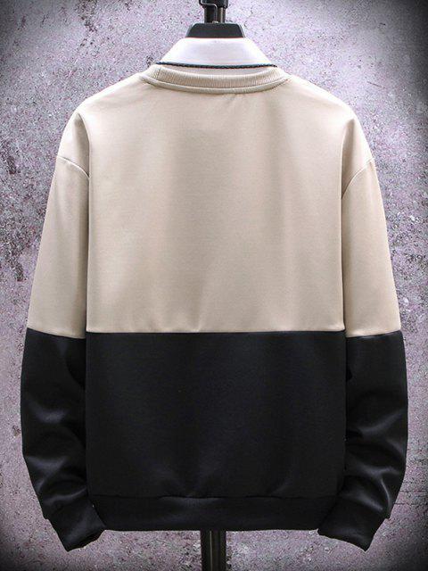 Sweat-shirt Lettre Brodée en Deux Couleurs à Col Rond - Kaki Léger XS Mobile
