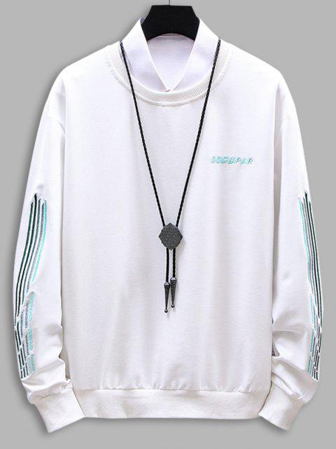 new Embroidery Letter Stripes Crew Neck Sweatshirt - WHITE M Mobile