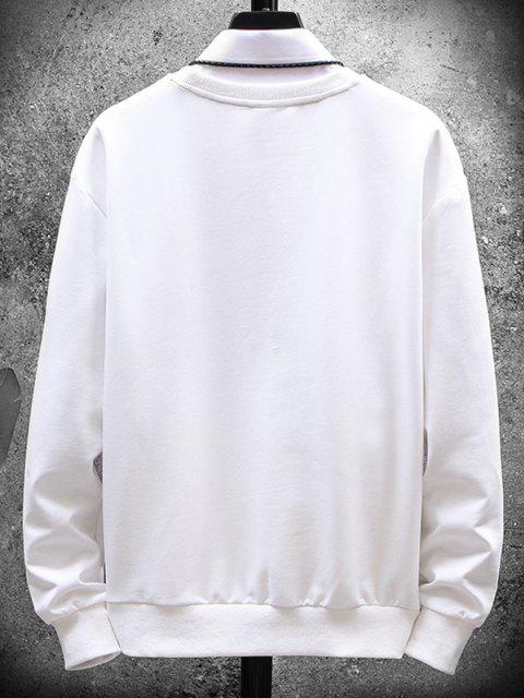 Embroidery Letter Stripes Crew Neck Sweatshirt - أبيض XS Mobile
