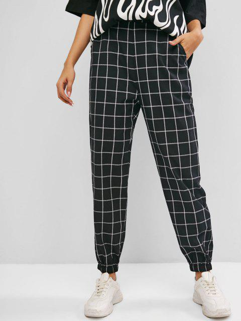 unique ZAFUL Grid Pocket Elastic Cuffs High Waisted Pants - BLACK M Mobile