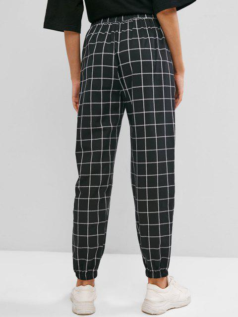 fashion ZAFUL Grid Pocket Elastic Cuffs High Waisted Pants - BLACK L Mobile