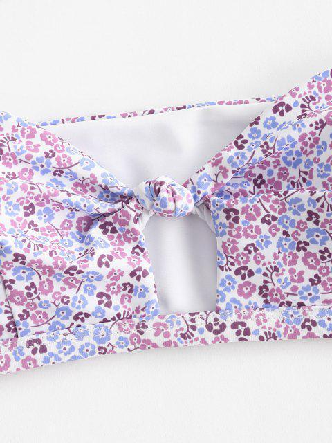 ZAFUL Costume da Bagno Bikini a Fascia con Stampa Incrociata Ditsy - Viola chiaro M Mobile