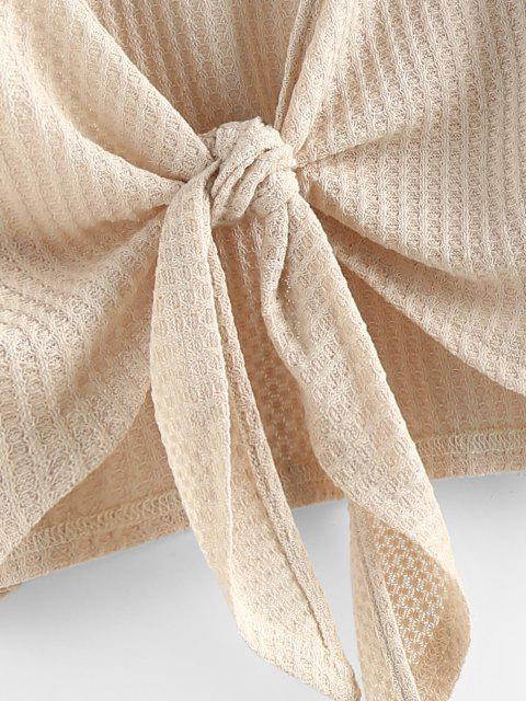 new ZAFUL Knot Front Ribbed Cropped Cardigan - APRICOT M Mobile