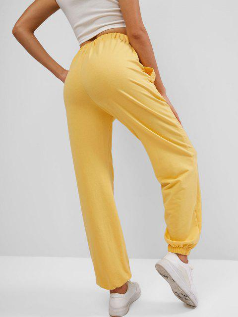 outfits ZAFUL Sun Embroidered Pocket Drawstring Jogger Pants - BRIGHT YELLOW S Mobile