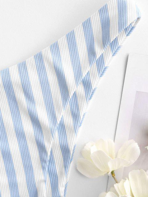 sale ZAFUL Striped Ribbed Cheeky Bikini Bottom - LIGHT BLUE S Mobile