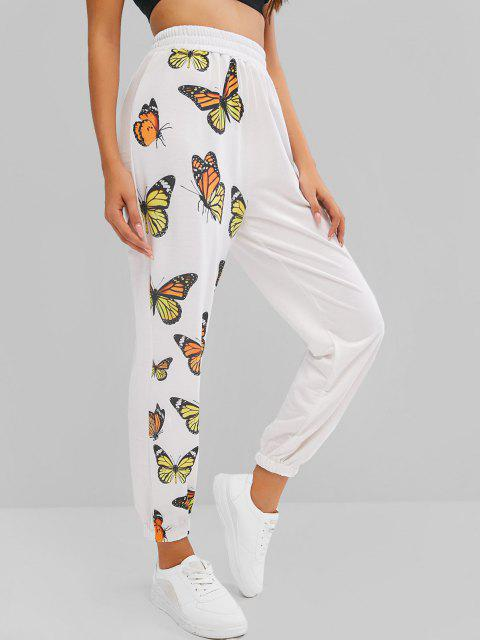 fashion ZAFUL High Waisted Butterfly Print Elastic Cuff Pants - WHITE M Mobile
