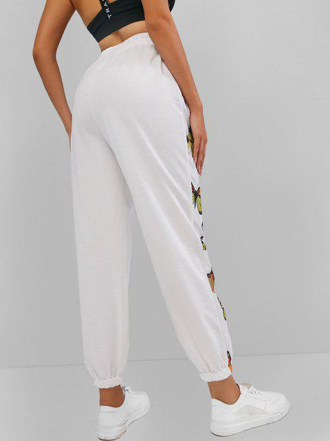 women's ZAFUL High Waisted Butterfly Print Elastic Cuff Pants - WHITE L Mobile