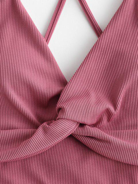 ZAFUL Gerippter Verdrehter Tankini Badebekleidung mit Hohem Schnitt - Hell-Pink XL Mobile