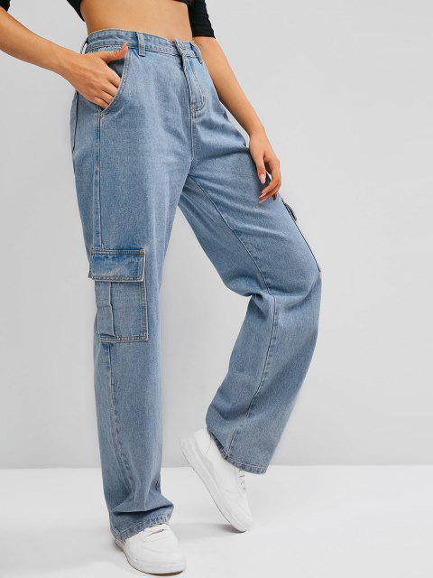 lady Boyish Pockets High Waisted Wide Leg Cargo Jeans - BLUE M Mobile