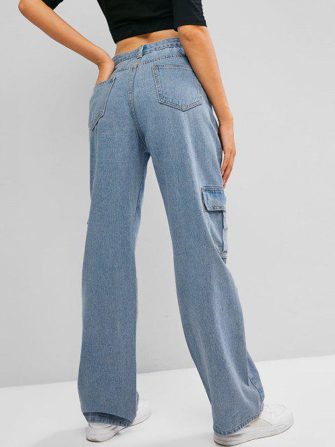 lady Pockets High Waisted Wide Leg Cargo Jeans - BLUE M Mobile