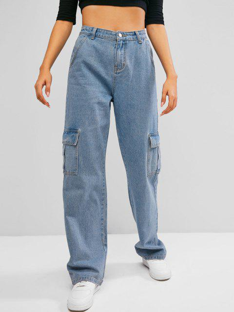 best Boyish Pockets High Waisted Wide Leg Cargo Jeans - BLUE XL Mobile
