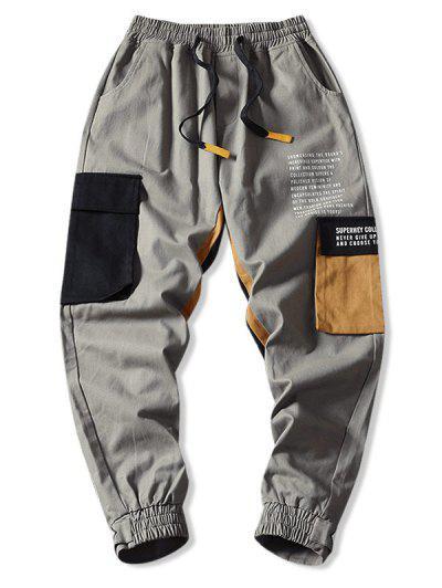 Drawstring Letter Print Contrast Jogger Cargo Pants - Gray 2xl