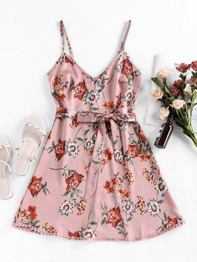 ZAFUL Pompom Floral Print A Line Dress - Khaki Rose M