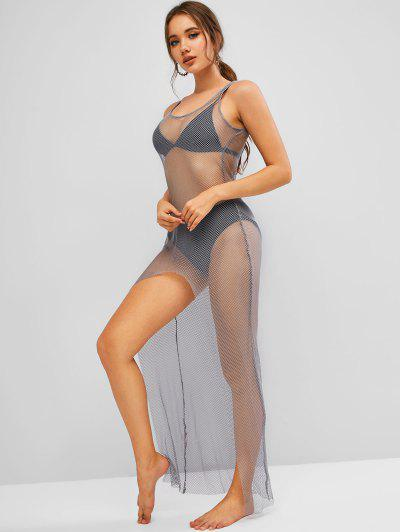 Fishnet Slit Maxi Beach Dress - Dark Gray S
