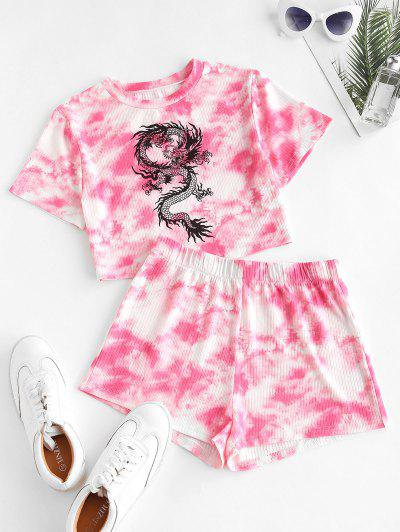 Chinese Dragon Graphic Tie Dye Crop Top And Shorts Set - Red S