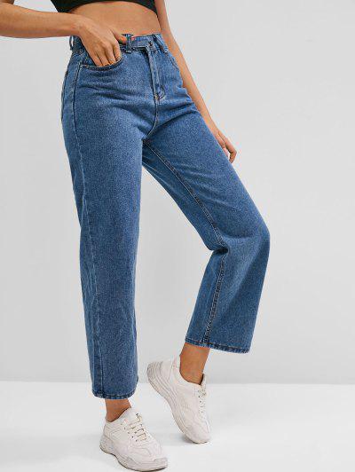 Pocket High Waisted Straight Jeans - Deep Blue M