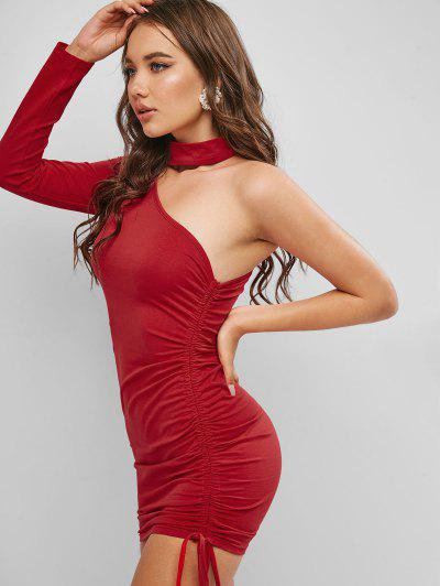 One Shoulder Side Cinched Bodycon Choker Dress - Red L
