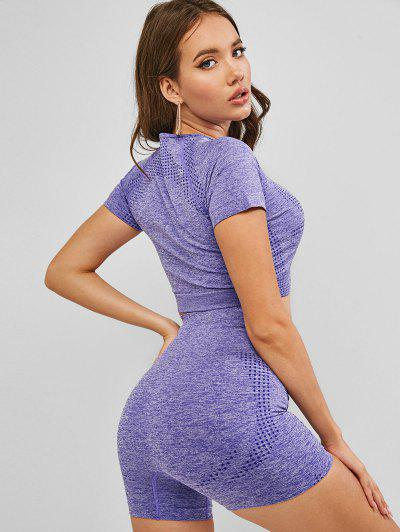 Crop Tee And High Waist Shorts Sport Suits - Purple S