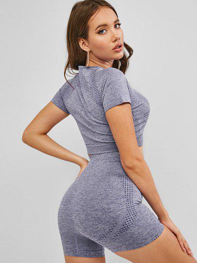 Crop Tee And High Waist Shorts Sport Suits - Gray M