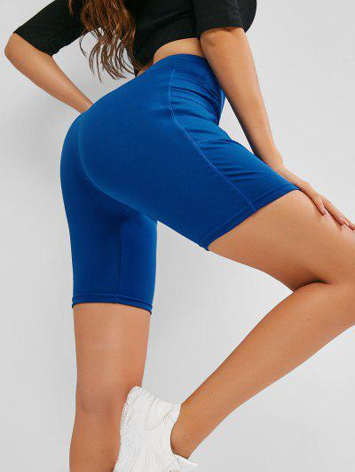 High Waisted Yoga Shorts - Blue Xl