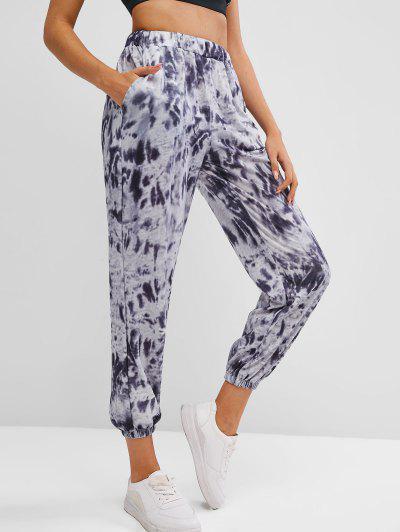 Tie Dye Pocket High Waisted Jogger Pants - Black L