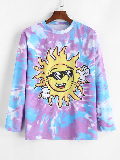 Funny Cartoon Sun Print Tie Dye T-shirt - Medium Purple 4xl
