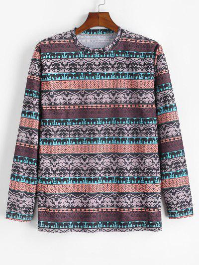 Tribal Elephant Geometric Pattern T-shirt - Camel Brown 3xl