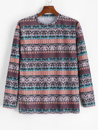 Tribal Elephant Geometric Pattern T-shirt - Camel Brown 4xl