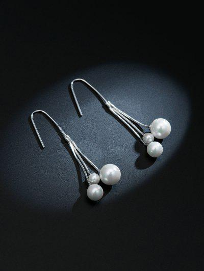 Minimalist Tassel Faux Pearl Earrings - Silver