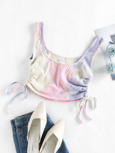 ZAFUL Cinched Tie Dye Crop Tank Top - Light Pink S