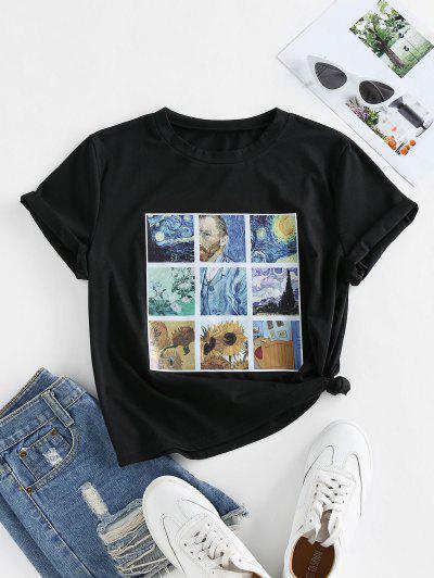 ZAFUL Camiseta De Mangas Cortas Con Estampado De Cielo Estrellado De Girasol - Negro M