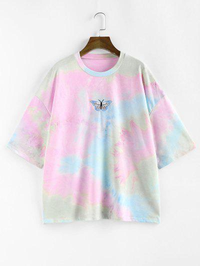 ZAFUL Tie Dye Butterfly Embroidered Drop Shoulder T-shirt - Multi S