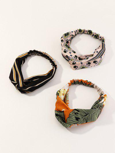 3Pcs Striped Leaf Print Headband Set - Multi-a