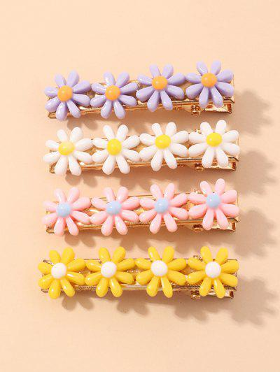 4Pcs Daisy Hair Clip Set - Multi-a