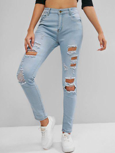 High Rise Destroyed Skinny Jeans - Light Blue S
