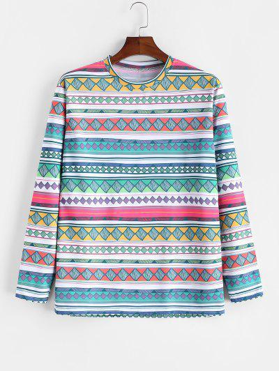 Geometric Print Long Sleeve T-shirt - Multi-a Xl