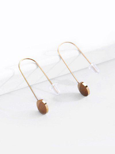 18K Gold Plated Disc Shape Drop Earrings - Golden