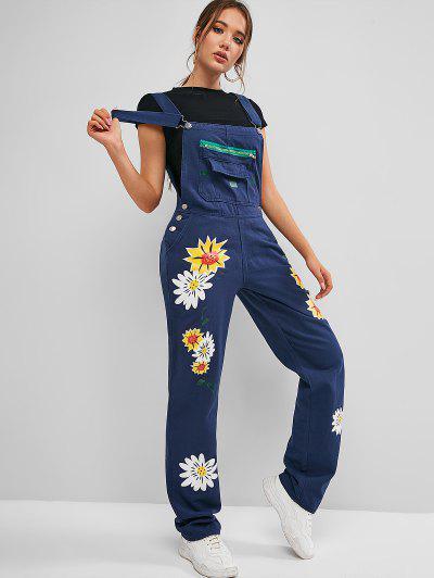 Zippered Pocket Floral Overalls Denim Jumpsuit - Cobalt Blue M