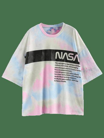 ZAFUL Tie Dye Letter Graphic Drop Shoulder Oversized T-shirt