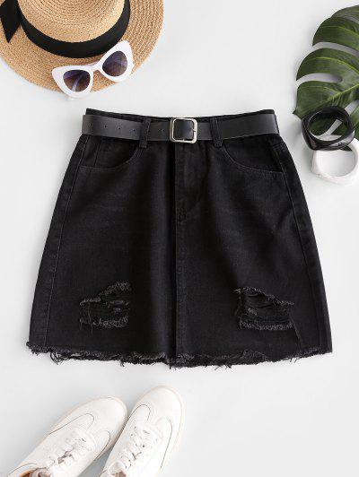 Frayed Hem Ripped Denim Mini Skirt - Black S