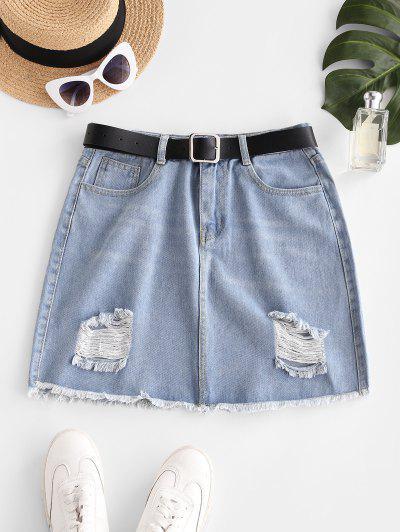 Frayed Hem Ripped Denim Mini Skirt - Light Blue M