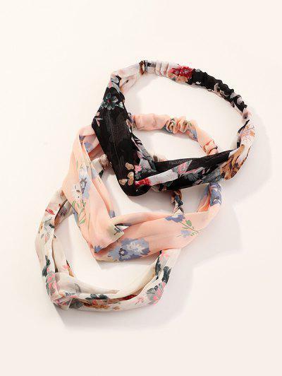 3Pcs Floral Elastic Headband Set - Multi-a