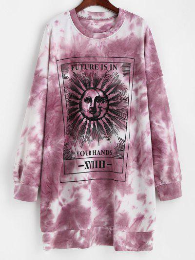 Robe Sweatshirt Décontractée Graphique Teinté Soleil - Rouge Xl