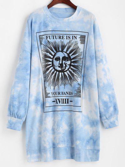 Vestido De Sol Tingido Gráfico De Gravata Moletom Casual - Azul Xl